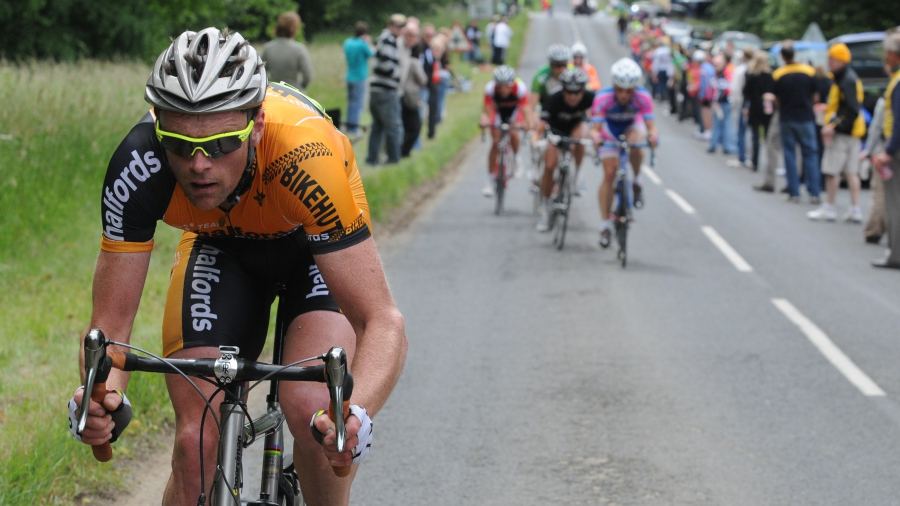Rob Hayles competitively riding a bike